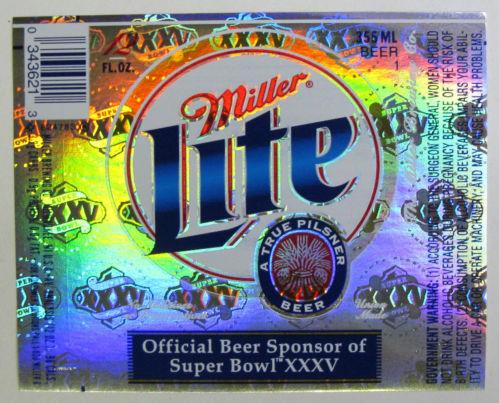 Etiqueta Miller Lite Superbowl